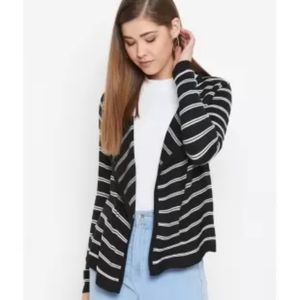 George Black & Grey Striped Open Front Cardigan